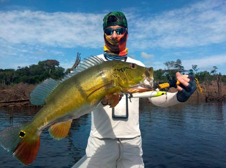 um homem segurando um peixe tucunaré em pescaria da Amazônia